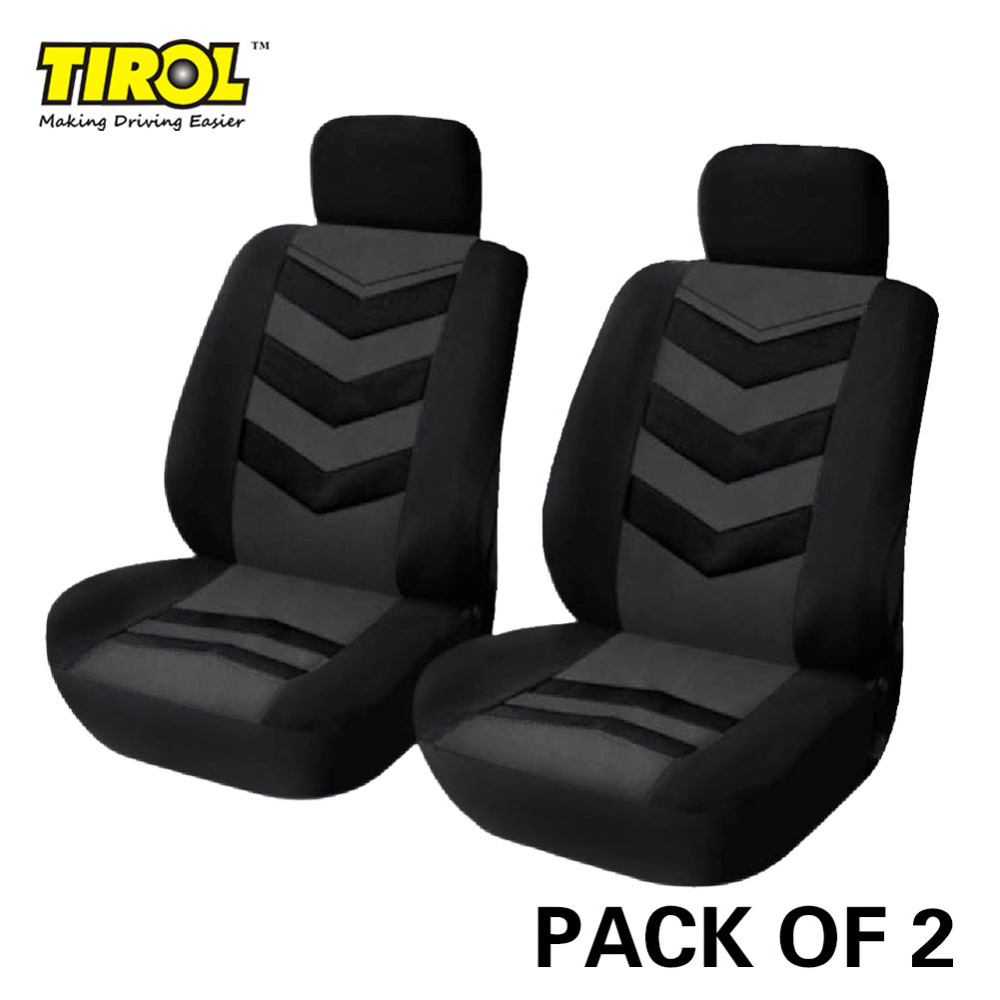 TIROL Hot Universal Car Seat Cover Black Gray 2Front Seat