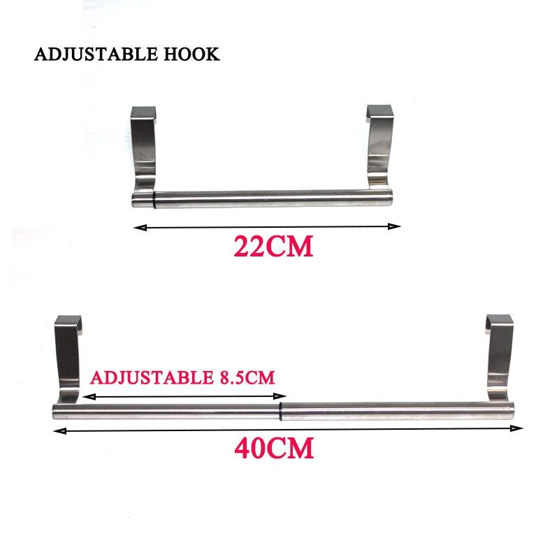 BEEMSK 22-40cm stainless steel adjustable multi-purpose hooks hanging towels kitchen and bathroom tools telescopic door hanger