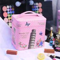 2017 Korean Style Cosmetic Bag Travel Tower Women Makeup Bags Female Zipper Cosmetics Bag Portable Travel