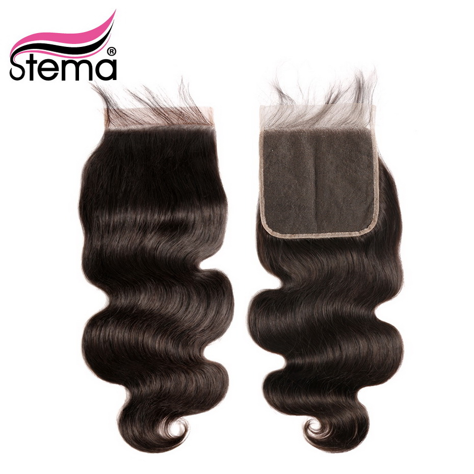 Stema Body Wave 6x6 Lace Closure with baby hair Free Part Brazilian Remy Human Hair
