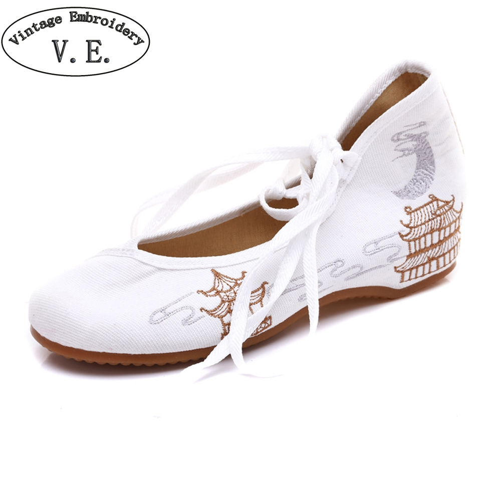 Фото Vintage Embroidery Women Canvas Lace Up Ballet Flats Retro Ladies Soft Comfort Cotton Fabric Shoes Zapatillas Mujer Casual