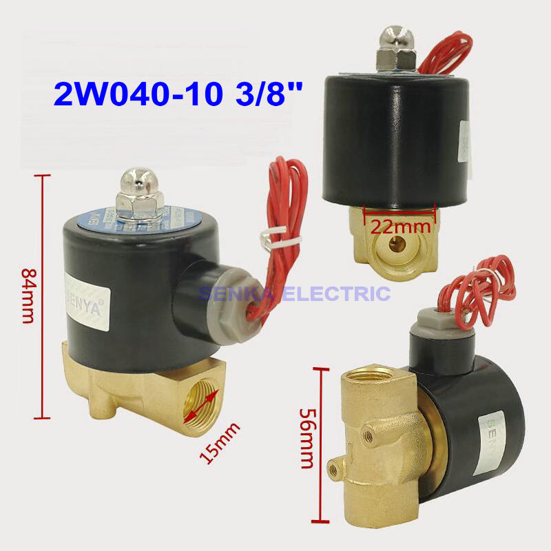цена на 2W040-10 2 Way N/C 3/8 Air Water Valve Electric Brass Pneumatic Solenoid Valve for Gas Diesel DC12V/DC24V/AC110V/AC220V/AC380V