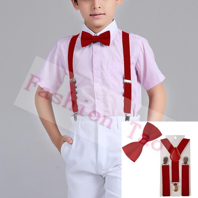 2 Pcs Red Color Children Kids Bowtie Erfly Braces Sets Boys Suspenders Wedding Party Bow