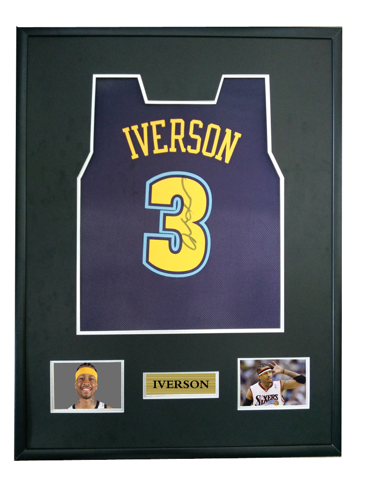 official photos 8bc81 b08e5 US $750.0 |Allen Iverson signed autographed basketball shirt jersey come  with Sa coa framed Nuggets-in Frame from Home & Garden on Aliexpress.com |  ...