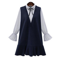 2017 Spring And Summer New Large Size Dresses Women Casual Stripes Stitching Trumpet Sleeves Dress Female