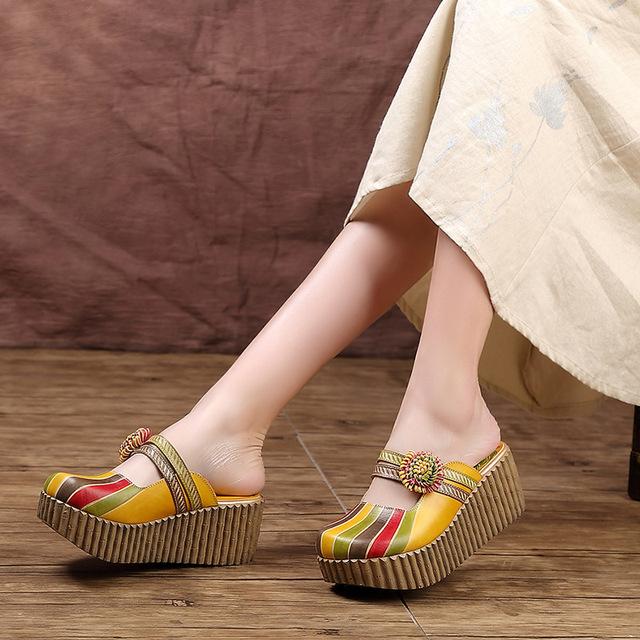 Women Genuine Leather Thick Heel Summer Slides