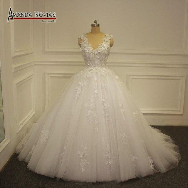 אמנדה Noivas חדש דגם שמלת כלה 2019 נסיכה נפוחה כדור שמלת כלה שמלה