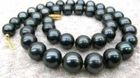 HOT Wholesale AAA 9 10mm Black Tahitian Cultured Pearl Necklace 18 AA 0066