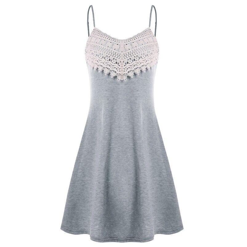 Fashion summer dress 2018 beach dress Womens Crochet Lace Backless Mini Slip Dress Camisole Sleeveless Dress vestidos J08#N (4)