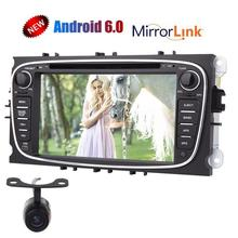 Android 6.0 Car DVD Player GPS head unit tape recorder stereo radio navigator for FORD Mondeo for Focus S-Max Free Rear Camera