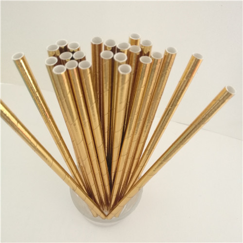 25Pcs Disposable Pure Color Bronzing Gold Silver Creative Wedding Supplies Birthday Event Party Decorating Beverage Paper Straw 1