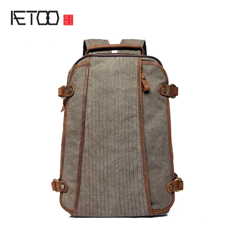 AETOO Bags casual shoulder bag men and women Korean version of the tide of the school students in the British retro backpack aetoo summer new shoulder bag women japan and south korea version of the pu backpack female tide fashion simple casual mini bag