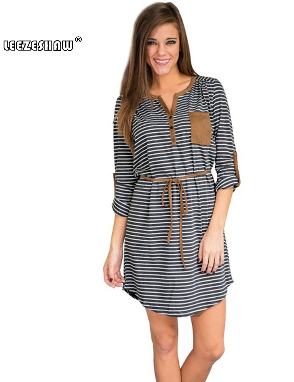 Leezeshaw Casual Striped Dress V Neck Sexy Women Knitted Long Sleeve A-Line Shirt Dress vestidos Belt Tunic Preppy Mini Desses