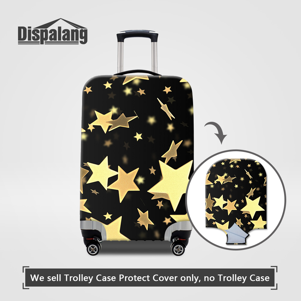 Dispalang Travel On Road Luggage Protective Covers For Women Gold Stars Printing Elastic Dust Rain Suitcase Cover For 18-32 Inch