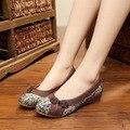 Китайский Старинные Вышивки Обувь Старый Пекин женские льняные национальный одноместный обувь холст квартиры мягкие танцевальные туфли плюс размер 40
