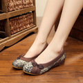 Chinese Vintage Embroidery Shoes Old Peking Women 's linen national single shoes canvas flats soft dance shoes plus size 40