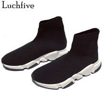 Sock Boots Runway Shoes Women Wedges Black Casual Woman Slip-On Knitted Elastic Hot