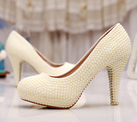 Wedding Shoes Ivory Bride Woman Shoes Spring Summer Party Prom High Heels Shoes 3 Inches Heel