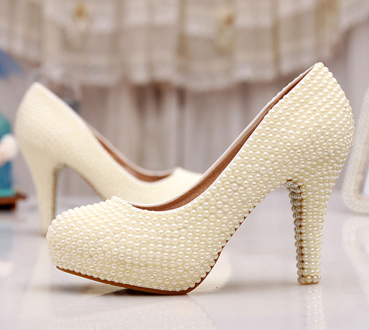 Wedding Shoes Ivory Bride Woman Shoes Spring Summer Party Prom High Heels Shoes 3 Inches Heel Platform Formal Dress Shoes