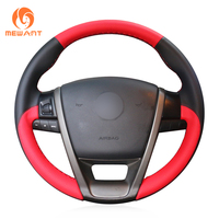 MEWANT Black Red Leather Car Steering Wheel Cover for MG6 MG 6