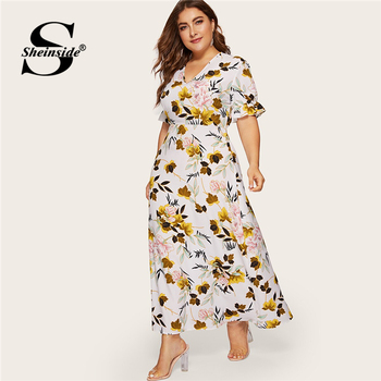 Sheinside Plus Size Boho Floral Print V Neck Dress Women 2019 Summer Flounce Sleeve A Line Dresses Ladies Elegant Maxi Dress
