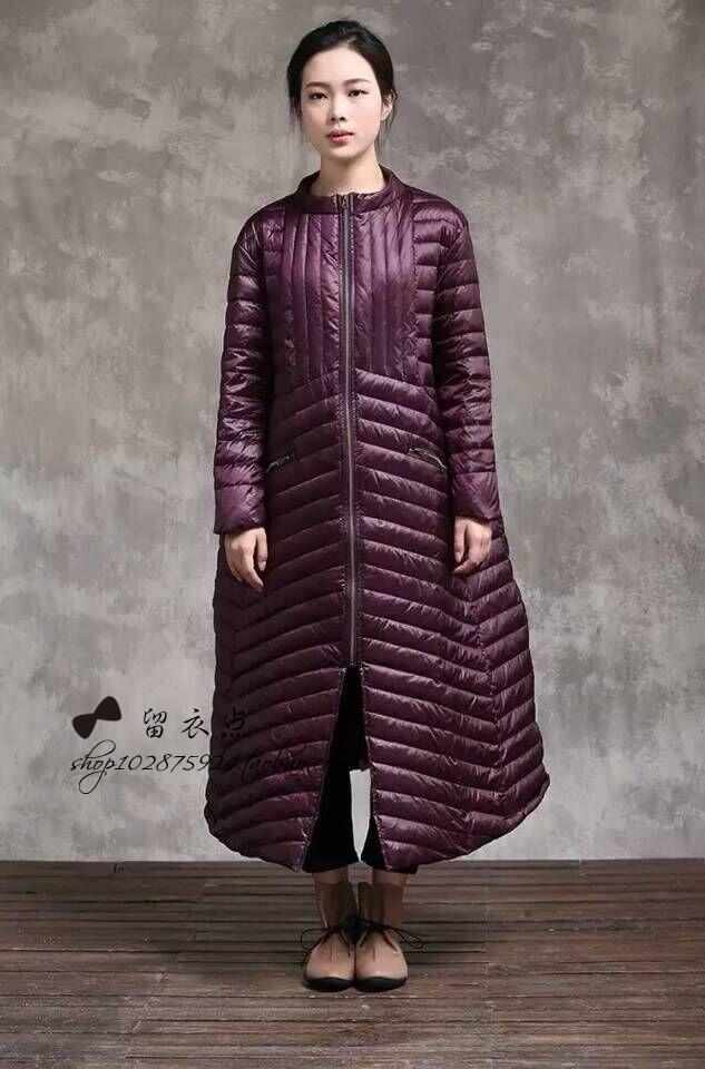 2015 women origial design all-match high quality long design loose thermal outerwear long down coat