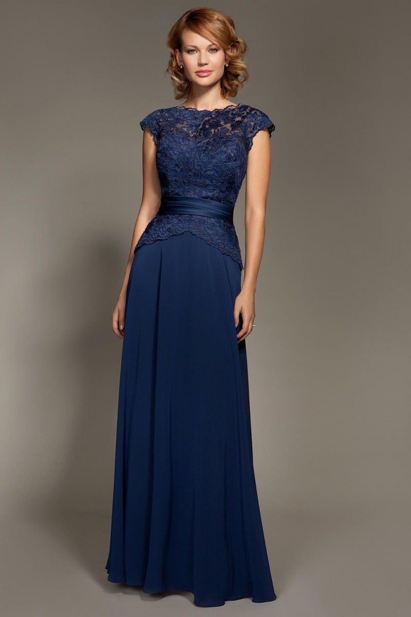 Cheap Dark Navy Blue Lace Cap Sleeve Chiffon Floor-Length Mother Of The Bride Dresses Party Dresses Prom Dresses (1)