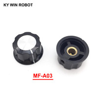 potentiometer knob 5pcs/lot MF-A03 A03 Potentiometer Knob Cap Inner 6mm 28x15mm Rotary Switch Bakelite Knob copper core inner for WHT118 WX050 (1)