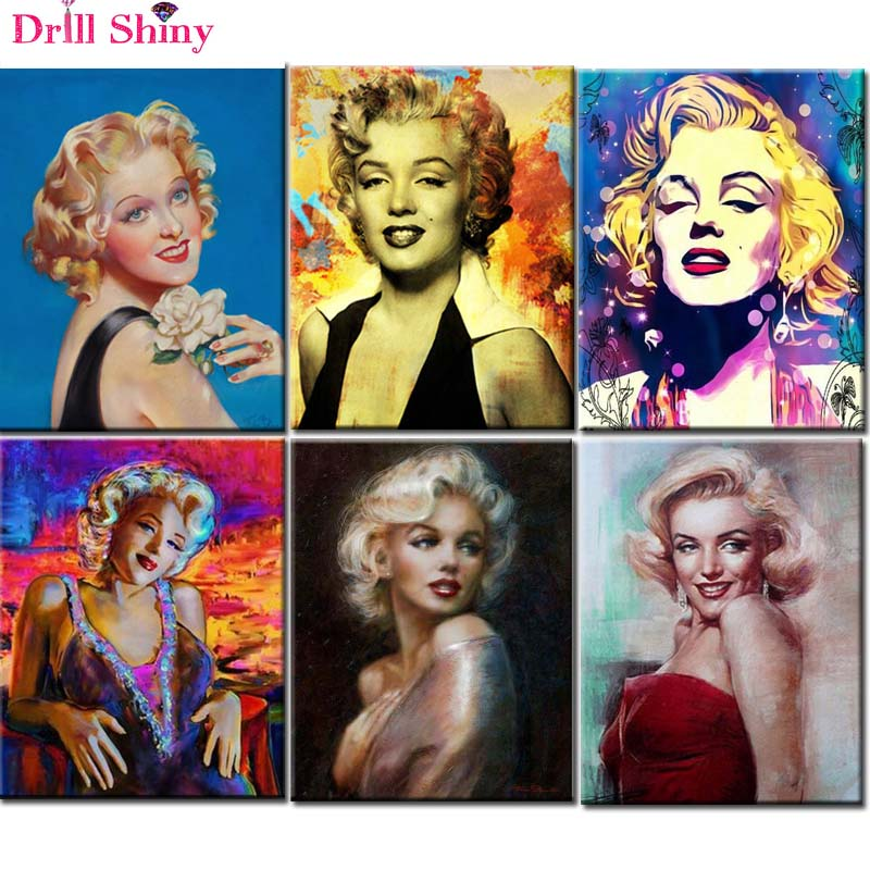 346d36c6134 US $6.15 35% OFF|New 3d Diamond Painting Marilyn Monroe icon 5D DIY Diamond  painting Mosaic Embroidery Home Decor Portrait Rhinestones Painting-in ...
