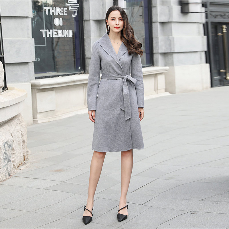 9bbba457a VOA Grey Rarity Baby Cashmere Coat Women Sheep Wool Belt Wrap Ladies Luxury Overcoat  Winter Warm Bathrobe Outerwear Clothes S321-in Wool & Blends from ...