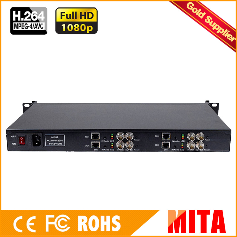 HD H.264 MPEG-4 AVC 1U 4 Channels SDI encoder for IP stream to Youtube Wowza Facebook Ustream hd h 265 hevc avc 1u 4 channels hdmi dvb t encoder modulator for ip stream to vlc media server xtream codes