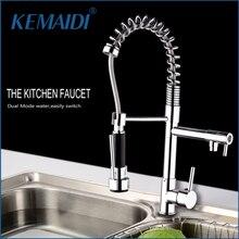 Kemaidi Твердый латунный Весна Вытяните кухонный кран с двумя Изливы и ручной душ хромированная отделка смесителя torneira de Cozinha