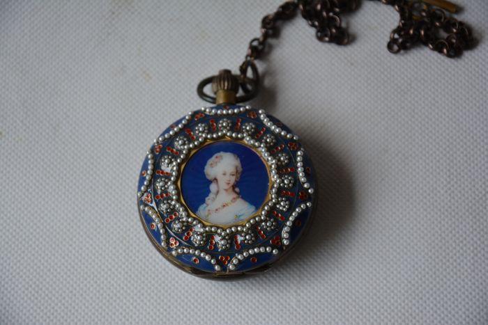Rare ancienne dynastie Qing horloge en verre en laiton royal \ montre de poche mécanique, pierres incrustées, peuple occidental, peut travailler, livraison gratuite - 3
