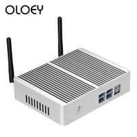 OLOEY Fanless Mini PC Intel Core i7 4610Y Windows 10 Linux 8GB RAM 120GB SSD 300Mbps WiFi Gigabit Ethernet HDMI VGA 6*USB