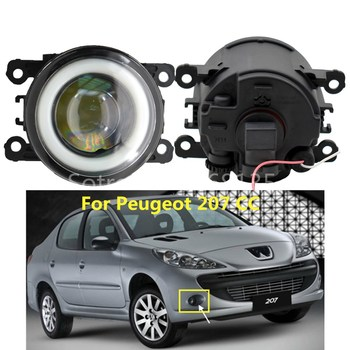 2x Angel Eyes Fog Lamp Assembly Super Bright LED Fog Light white For Peugeot 207 SW Estate (WK_) 2007-2012