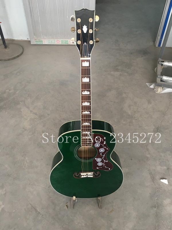 OEM factory AAA solid wood Genting, flame maple on the back and sides, 43 inch high quality green color acoustic guitar, free sh the immortals dark flame