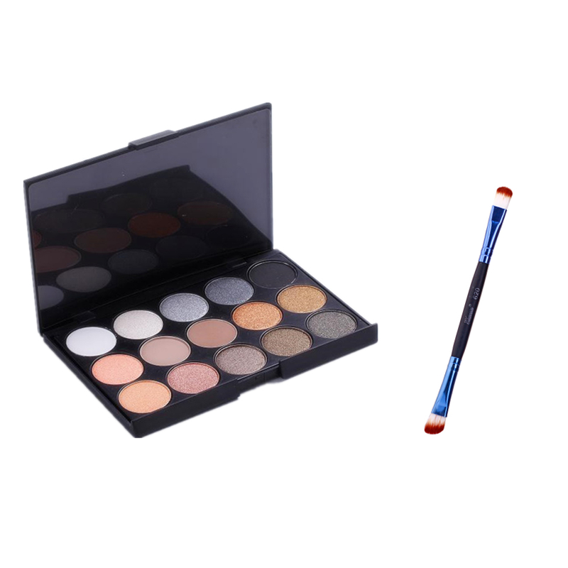 New 15 Color Matte Pigment Glitter Eyeshadow Palette Cosmetic Makeup Set Eye Shadow palettes + makeup brush beauty kit professional cosmetic makeup 15 color eye shadow palette black