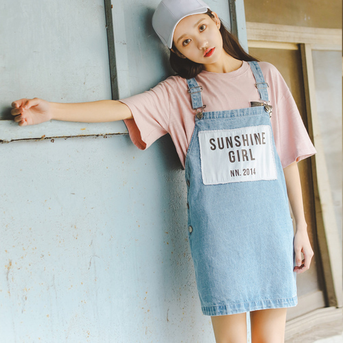 854874f76f Denim Dress Women 2017 Summer Japan Style Lolita Letters Printed Patchwork  Overalls Dresses Blue Jeans Dress vestido jeans 1354