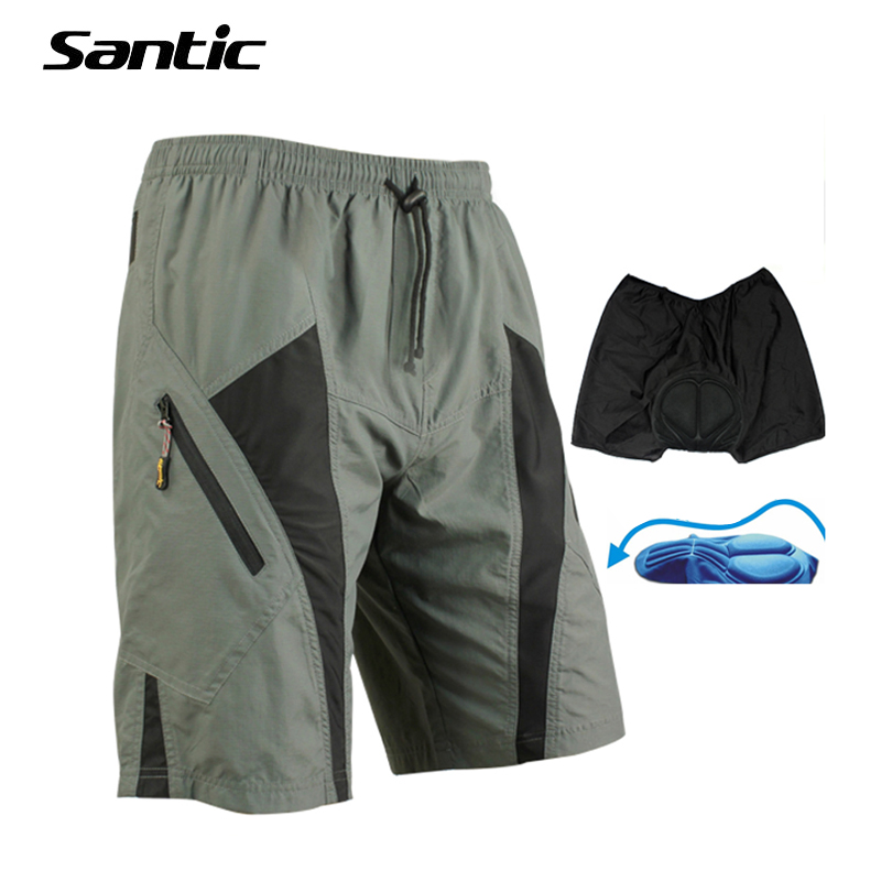 Santic Cycling Shorts Reflective Anti-sweat Men Mtb Shorts Gel Pad Downhill Bike Shorts Bicycle Moto Loose Coolmax ciclismo 50
