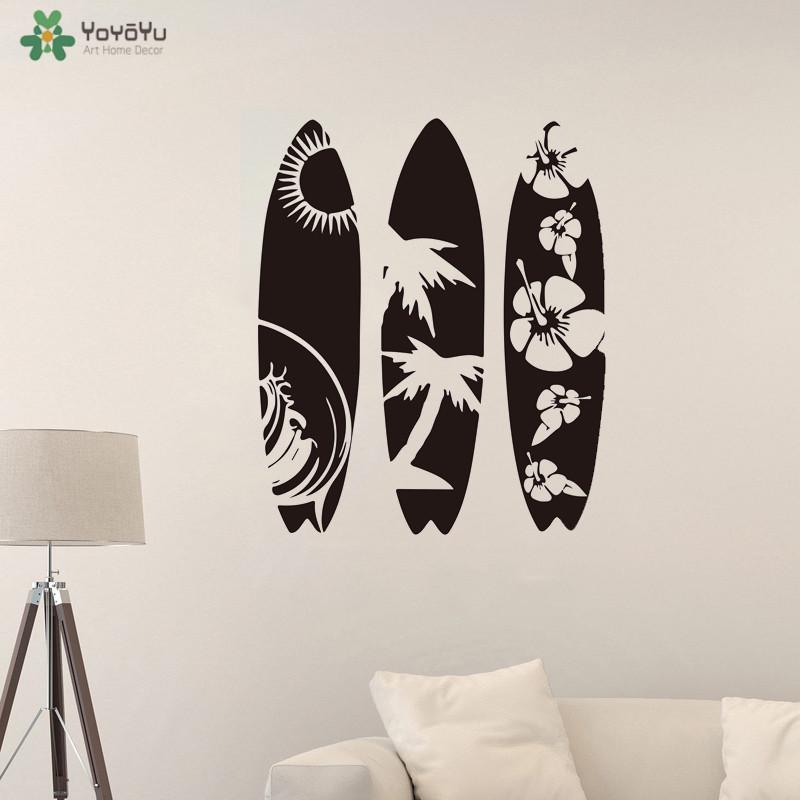YOYOYU Wall Decal Surfboard Set of 3 Wall Sticker Summer Beach Sport Sea Surfboard Wall Decal Modern Vinyl Art QQ304