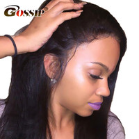 Gossip Lace Front Human Hair Wigs For Black Women Peruvian Straight Glueless Black Wig With Baby
