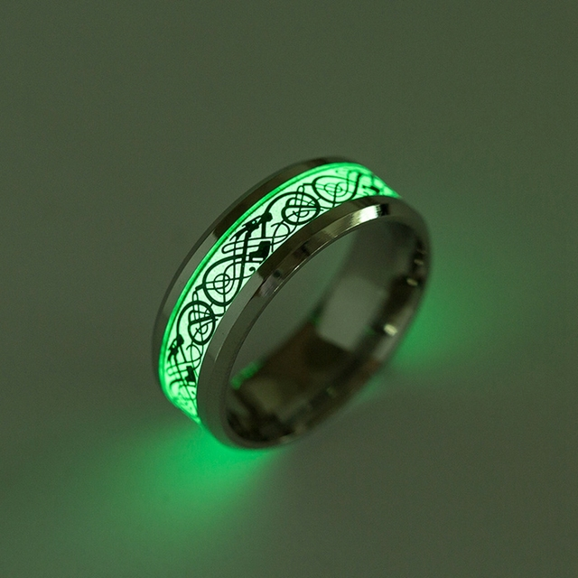 Stainless Steel Glow in the Dark Ring 4