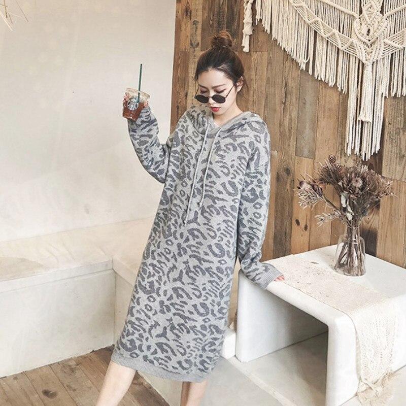 Robe Hiver Pull Automne Capuchon À Longues Féminine Chandail Tricoté Longue Léopard coffee V122 Manches Casual Femmes 2018 Gray Ez5wq7