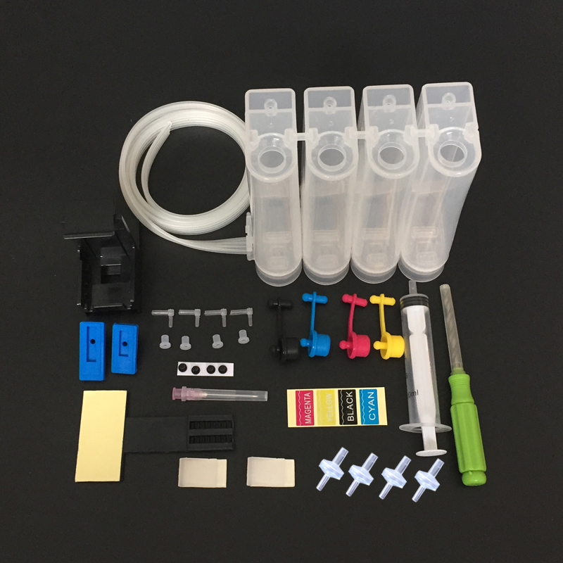 Universal DIY CISS kit 4 color CISS ink tank accessories Replacement for <font><b>HP</b></font> <font><b>21</b></font> <font><b>22</b></font> 60 61 56 57 74 75 901 121 300 122 301 image