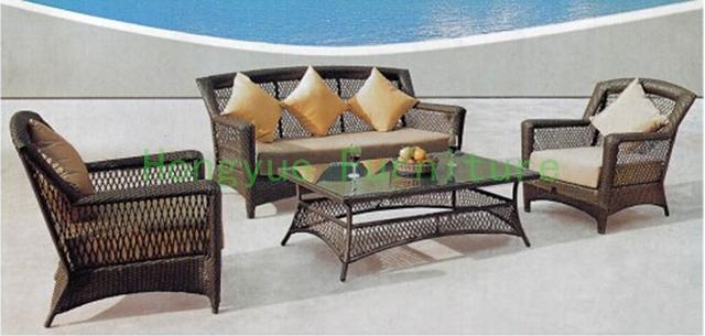 Nuevos diseños ratán sofá de jardín conjunto muebles proveedor