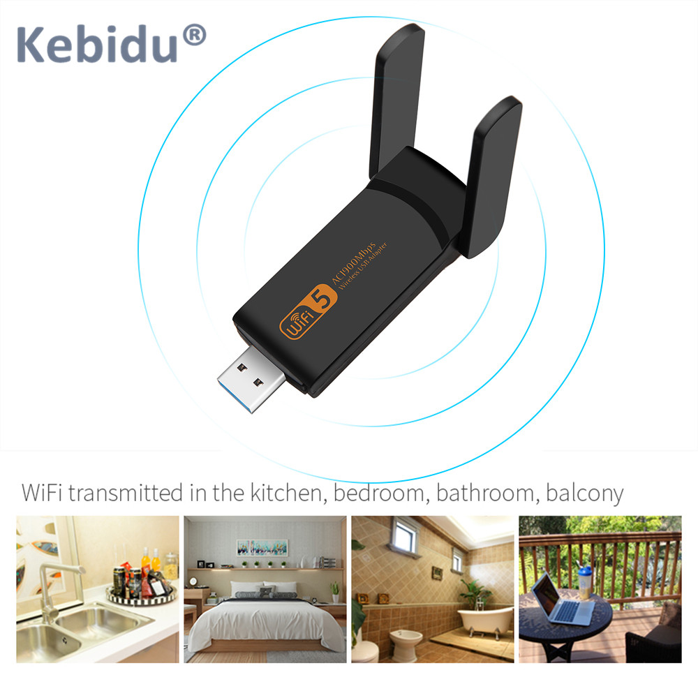 600Mbps Dual Band Wireless USB WiFi Adapter 2.4G/&5G Lan Card Dongle Desktop PC