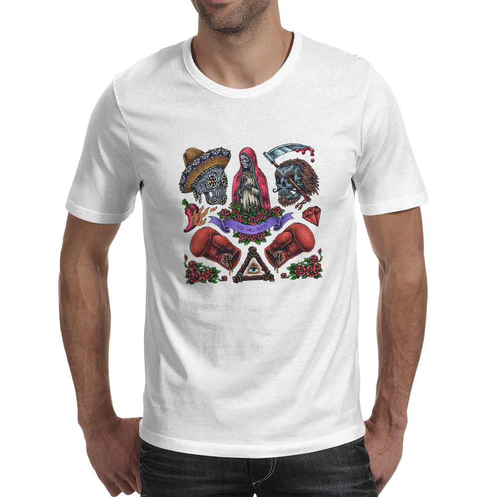 Unique Diamond Skull Mens T-shirt 2pac Inspired Hip Hop Graphic Tee Slogan 437