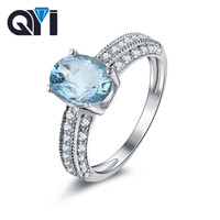 QYI 925 Sterling Silver Natural Sky Blue Topaz Rings 2 ct Oval Cut Topaz Jewelry Natural Gemstone Engagement For Women Gift