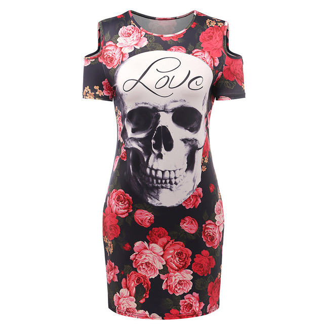 New Women's Summer Mini Dress Sexy O-neck Short-Sleeved Strapless Bag Hip Print Skulls Rose Print Street Trend Party sexy Dress
