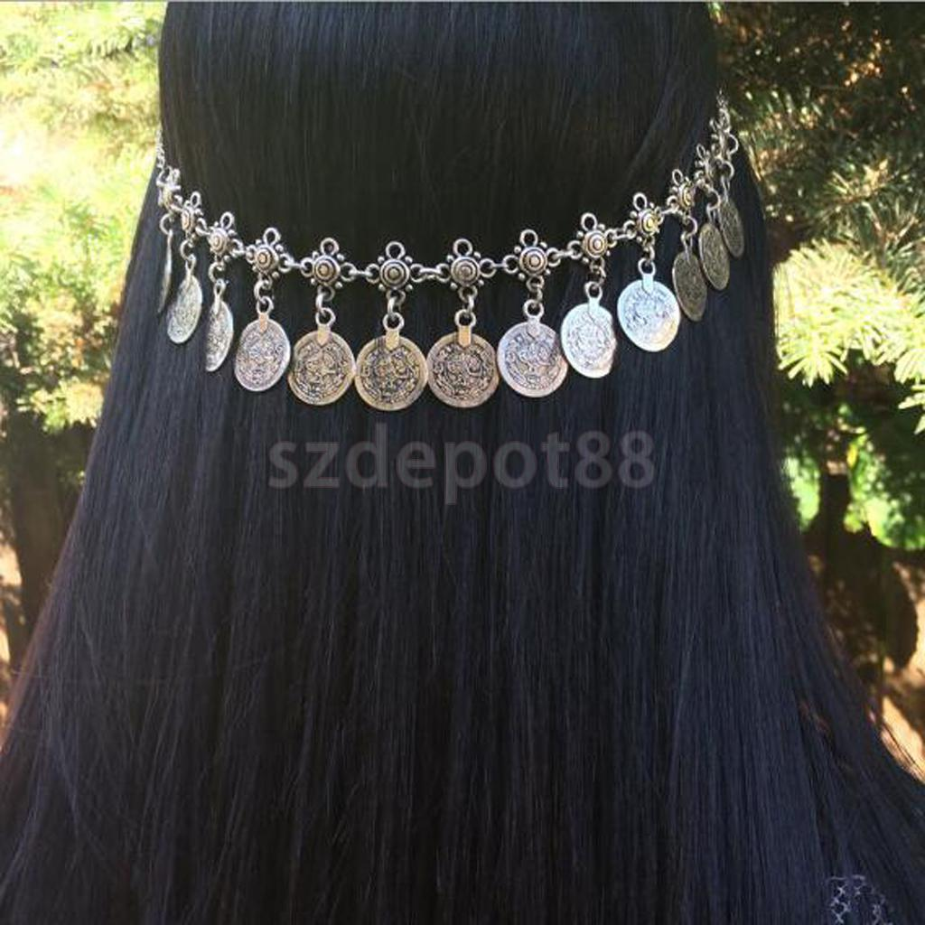 все цены на Antique Silver Bohemian Gypsy Coins Tassel Head Chain Headpieces Jewelry